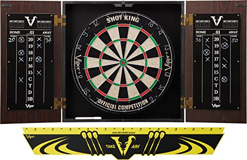 Viper Stadium Cabinet & Shot King Sisal/Bristle Dartboard Ready-to-Play Bundle: Standard Set (Shot King Dartboard, Darts and Throw Line) ()
