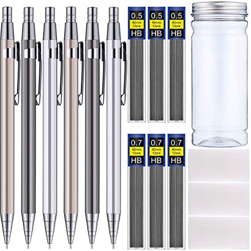 Plastic Refill Pencil - Boao Metal Mechanical Pencils Set, Including 6 Pieces Mechanical Pencils, 6 Tubes Lead Refills and 3 Pieces Erasers with Clear Plastic Bottle for Drafting Sketching Drawing Signature, 0.5 mm and 0.7 m