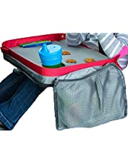 ModFamily Kids E-Z Travel Lap Desk Tray - Universal Fit for Car Seat, Stroller & Airplane - Organized Access to Drawing, Snacks, and Activities. Includes Bonus Printable Travel Games