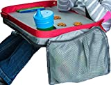 ModFamily Kids E-Z Travel Lap Desk Tray - Universal Fit for Car Seat, Stroller & Airplane - Organized Access to Drawing, Snacks, and Activities. Includes Bonus Printable Travel Games (Red/Grey)