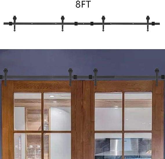 Kit de deslizamiento de puerta de granero, tipo de flecha de empalme de puerta doble Kit de riel de puerta corrediza para riel de puerta corrediza Kit de riel de riel de
