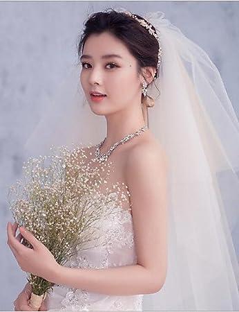 wedding veils FJY&TS Quatre Couches Bord coupé Voiles de Mariée Voiles Bout du Doigt avec Peigne Florale Tulle