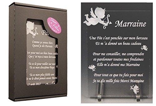 1 Poème Marraine – Ange (spécialiste des Cadeaux Parrain Marraine Baptême) Gravure Events
