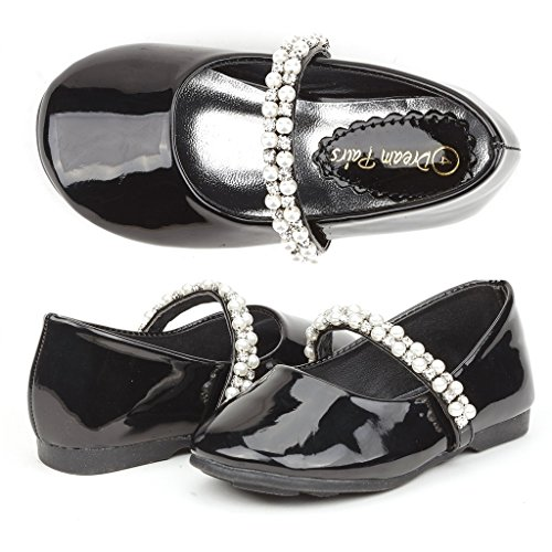 DREAM PAIRS SERENA-100-INF Mary Jane Casual Slip On Ballerina Flat Toddler New Black Size (Special Occasions Girls Shoe)