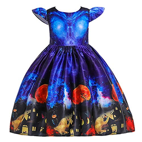 MIS1950s Toddler Kids Girls Halloween Costumes Cartoon Print Princess Pageant Gown Party Dress (100, Blue) (Best Nerf Gun For The Price)