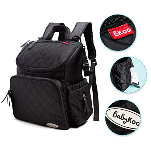 Baby Diaper Bag Backpack with Nappy Change Mat by BabyKoo. Black with Teal Interior. Unisex Multi-Function Stylish Design with Stroller Straps.