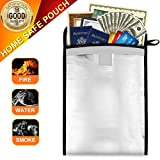 Fireproof Bag, Sungwoo Fireproof Waterproof Pouch Document Cash Money Passport Bank File Valuables - Two Sided Aluminum Foil Coated (13'' x 10'')