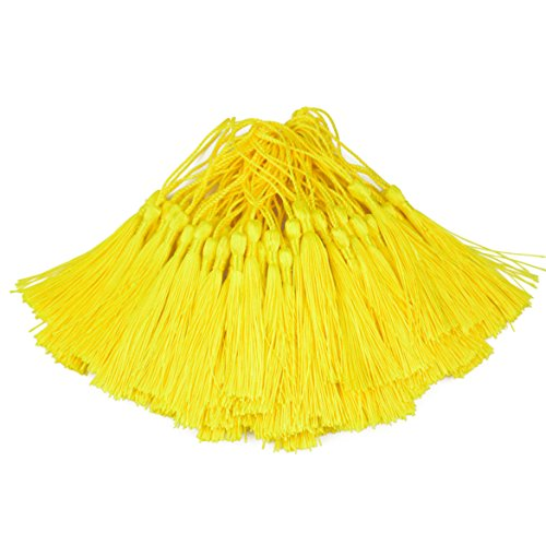 100pcs 13cm/5 Inch Silky Floss Bookmark Tassels with 2-Inch Cord Loop and Small Chinese Knot for Jewelry Making, Souvenir, Bookmarks, DIY Craft Accessory - Tassel Yellow