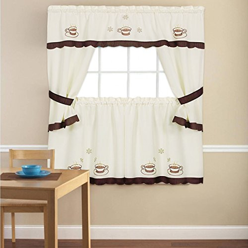 Sweet Home Collection 5 Piece Kitchen Curtain Window Panel Set Printed Design with with Tier, Swag, and Valance, 36