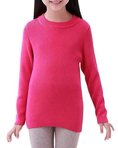 Kids Long Sleeves Casual Basic Solid Colors Cashmere Wool Crewneck Warm Knitted Pullover Jumper Sweater for Little & Big Girls, Hot Pink, Label Size 160 = 10-11 Years