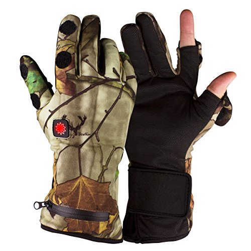 Morpilot Unisex Heated Gloves, Electric Rechargeable Battery Powered, up to 6 Hours of Warmth - Camouflage Extra (Heated Hunting Gloves)