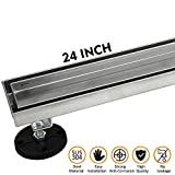 24-Inch Linear Shower Drain with Tile Insert Grate, Brushed 304 Stainless Steel Long Shower Floor Drain for Bathroom, Rectangle Floor Shower Drain with Adjustable Leveling Feet and Hair Strainer