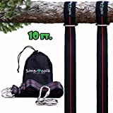 Sims-Tools Tree Swing Strap Hanging Kit - 2 Extra Long Adjustable Straps 10ft and 2 Strong Carbines - Appropriate for Every Swing Set and Hammock - Outdoor Swing Hangers - Quick and Easy Installation
