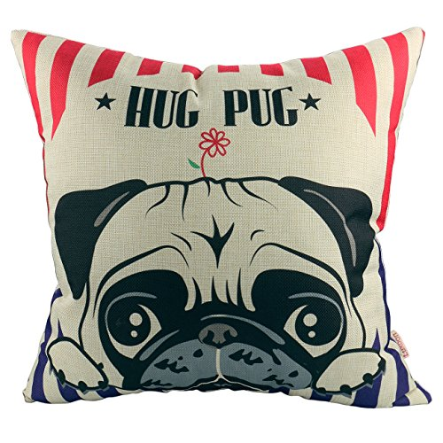 Luxbon Lovely Hug Pug Dog Cotton Linen Sofa Couch Seat Throw Pillow Case Home Decor Puppy Animal Cushion Cover 18 x 18/45X45cm
