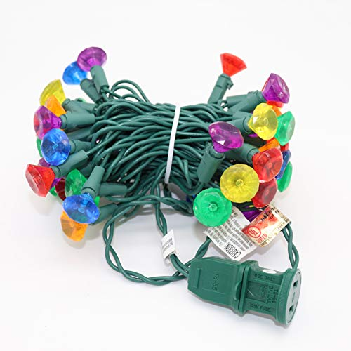 Stay Off The Roof Multicolor LED Christmas Tree Lights - 50 Jewel Cut Multicolored Bulbs - 13.25, Connect up to 45 Sets - Christmas Tree String Lights