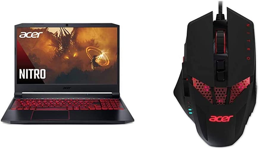 """Acer Nitro 5 Gaming Laptop, AMD Ryzen 5 4600H Hexa-Core Processor, NVIDIA GeForce GTX 1650 Ti, 15.6"""" Full HD IPS Display, 8GB with Acer Nitro Gaming Mouse"""