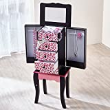 Teamson Kids Fashion Prints Kids Jewelry Chest Armoire - Leopard (Pink / Black)