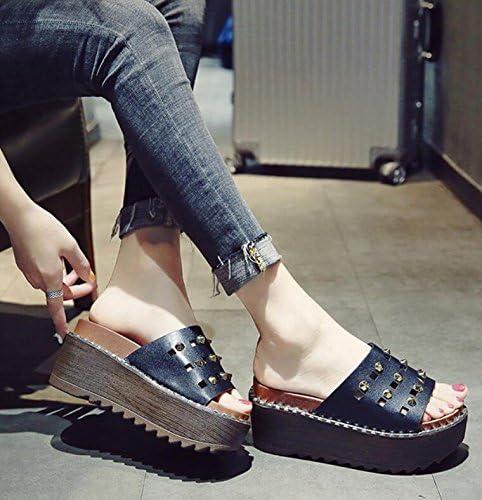 KHSKX-Hill Y Zapatillas De Verano Bizcocho Femeninos Zapatos De Mujer La Versión Coreana De La Gruesa Elegante Y Versátil Desgaste Remaches Fresco Zapatillas De Tacón 39: Amazon.es: Deportes y aire libre