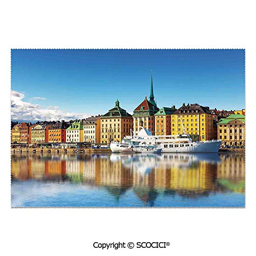SCOCICI Set of 6 Durable Polyester Place Mats Heat Resistant Table Mats Summer Panorama of The Gamla Stan in Stockholm Sweden Yacht Ship by The Port Ocean for Party Kitchen Dining Table