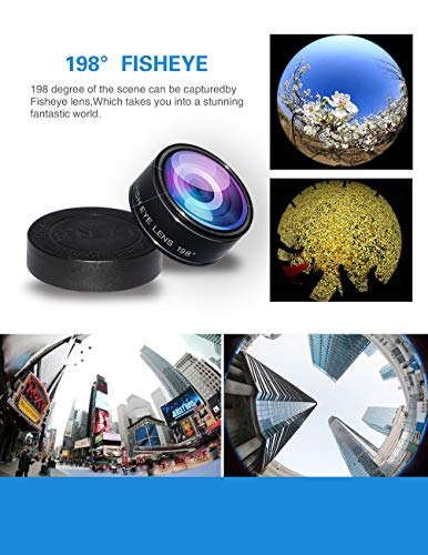 5-in-1 phone lens, 20x telephoto lens, 0.63x wide-angle lens, macro lens, fisheye lens, eye mask, Telescope Camera Mobile Zoom lens compatible iPhone Samsung Galaxy Huawei and most Android smartphones by Bostionye (Image #6)
