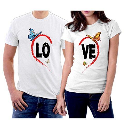 Matching LO VE Heart Butterflies Couple T-Shirts Men XXL/Women S White (Samsung Galaxy S2 Case Minecraft)