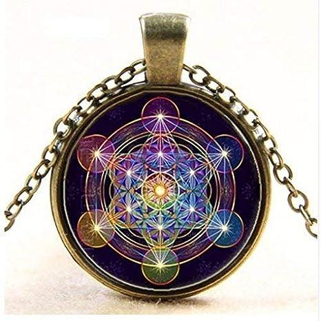 Metatron collar con colgante de cubo de geometría sagrada de la ...