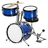 """Kids Drum Set 3 Pc 13"""" Beginners Complete Set with Throne, Cymbal and More- Blue"""