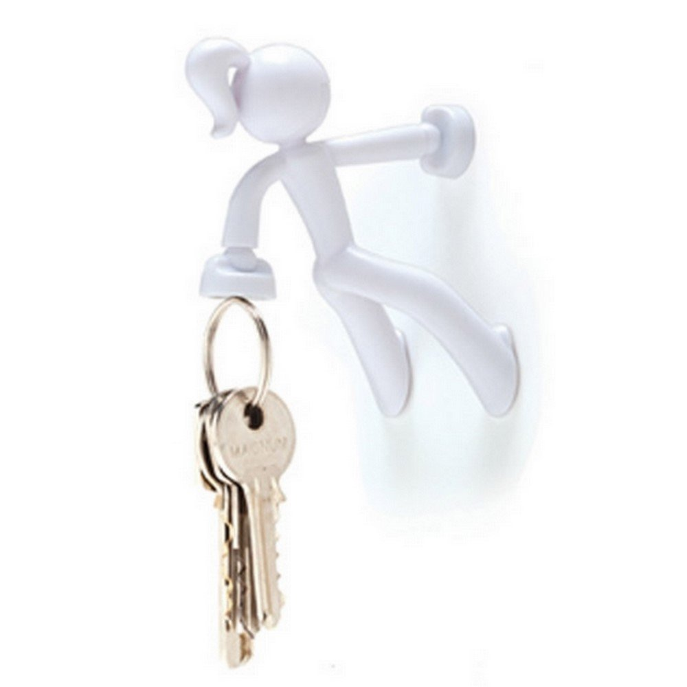 Key Petite - Key Pete Girl Strong Magnetic Key Holder Hook Rack Magnet - White