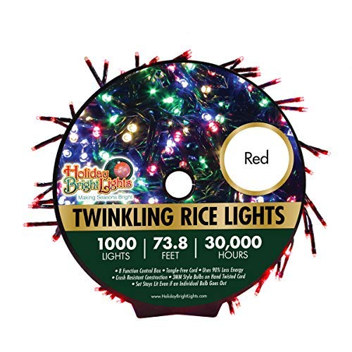 Holiday Bright Lights Red Christmas 1000L Twinkling Rice Light Reel, 30,000 Hours of Bright Light, 8 Modes to Choose from, Red Holiday Lights, 74 ft. Long Cord, Indoor and Outdoor Decoration
