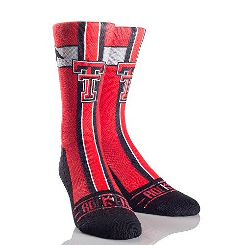 NCAA Texas Tech Red Raiders Jersey Series University Custom Athletic Crew Socks, Large/X-Large, Red