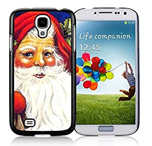 Samsung S4 Case,Red Christmas Hat Santa Claus Black Silicone Phone Case Fit Samsung Galaxy S4 Case,Galaxy S4 I