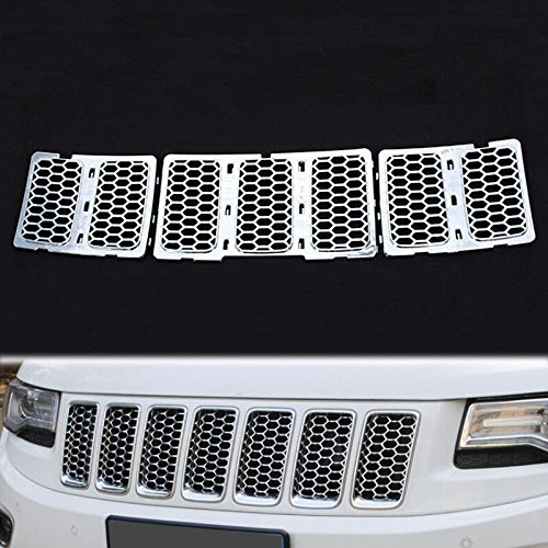 HONETECH(TM) Front Chrome Honeycomb Mesh Grille Grill Inserts Trim For Jeep Grand Cherokee 2014 2015