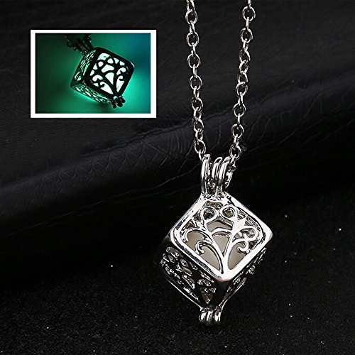(Gbell Women Retro Tree Life Cube Pendant Necklace Glow in The Dark - Hollow Neck Chain Necklaces Jewelry Charm Birthday Valentine Gift Girls Women,50 cm (Green))