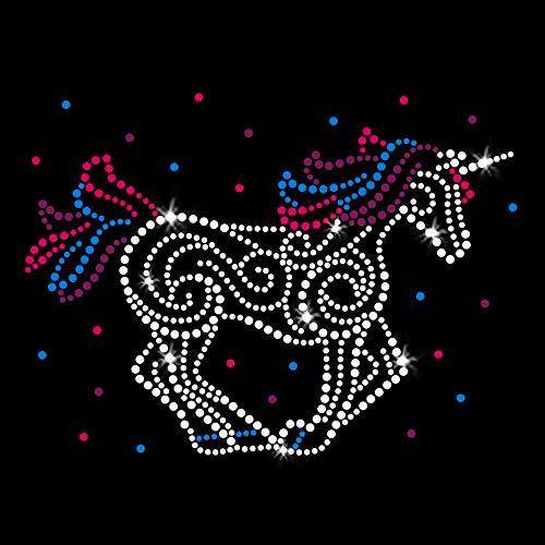 Unicorn Party Horse Iron on Rhinestone and Rhinestud Transfers for T-Shirts by JCS Rhinestones ()