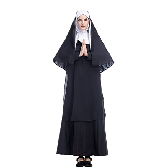Adulto Disfraz de Monja para Mujer Cosplay Monja Stage Show Carnaval Halloween