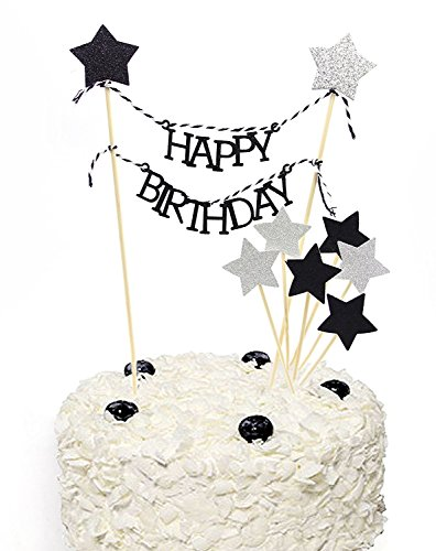 Black Glitter Pentacle Silver Giltter Pentacle Cake Toppers Happy Birthday Cake Bunting Topper Set of 9, 300 Gram Paper Highest Quality, Birthday Party Decoration, Handmade and Sold by Soccerene