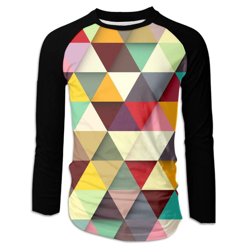 MASDUIH 3D Print Colorful Triangle Stripe Long Sleeve Shirt Baseball Shirt