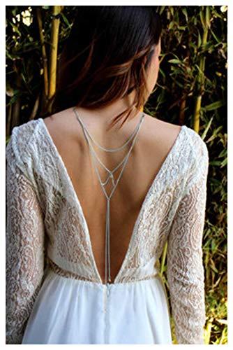 Fstrend Dainty Layered Back Chain Necklace Luxury Rhinestone Bikini Beach Long Body Belly Pendant Jewelry for Women and Girls (Silver)