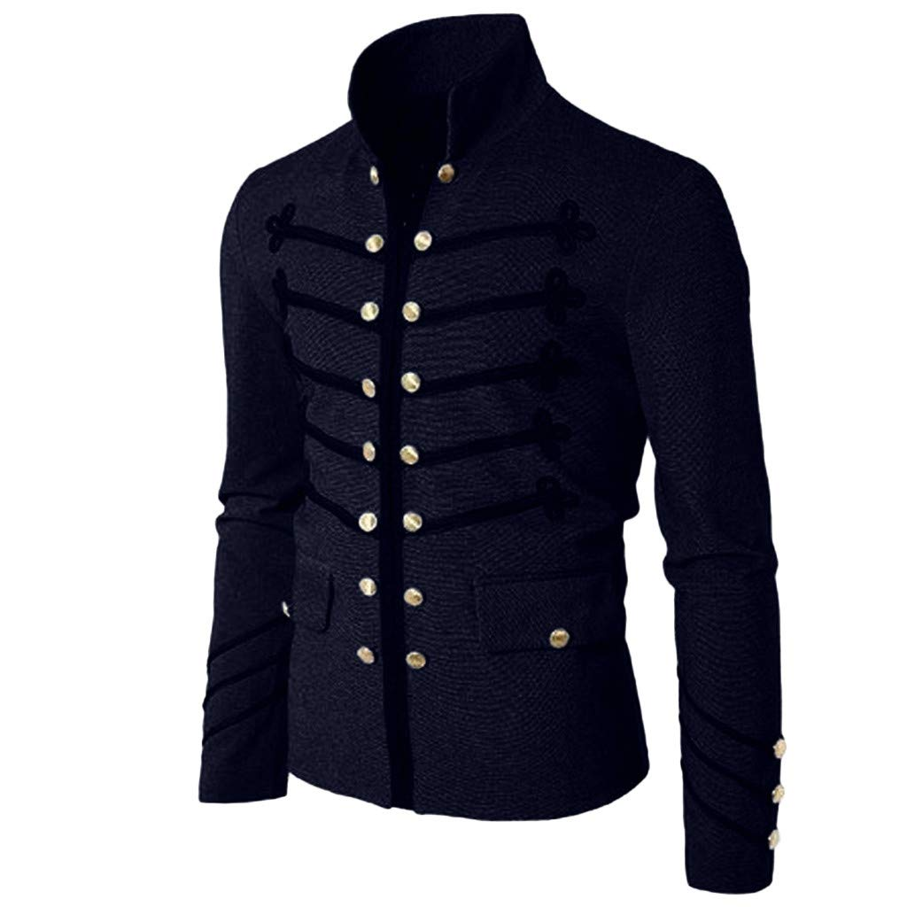 Men Gothic Vintage Jacket Double Breasted Formal Gothic Victorian Coat Costume (XXL, Navy) by Yihaojia Men Blouse