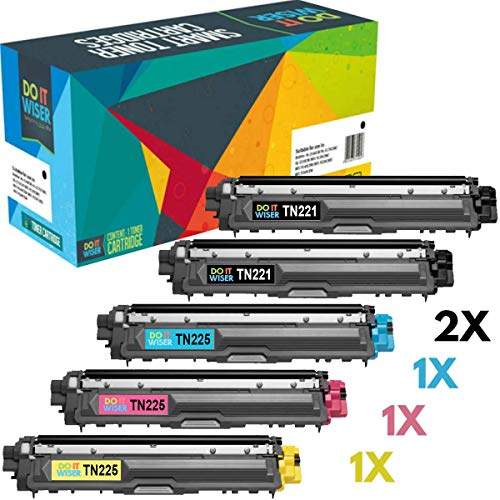 Do it Wiser Compatible Toner Cartridge Replacement for Brother TN221 TN225 to use with Brother HL-3170CDW MFC-9340CDW MFC-9130CW MFC-9330CDW HL-3140CW HL-3180 (2 Black, Cyan, Magenta,Yellow) 5-Pack ()