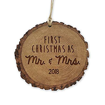 GiftsForYouNow First Christmas as Mr. & Mrs. 2018 Rustic Wood Ornament