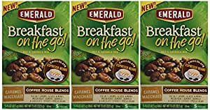 Emerald, Breakfast on the Go! Coffee House Blends, Caramel Machiatto, 5 Count, 7.5oz Box (Pack of 3)