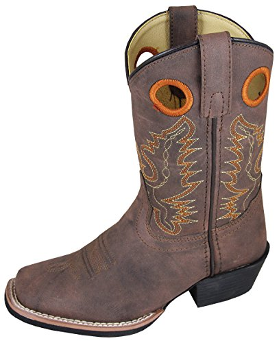 Smoky Mountain Childs Memphis Sq Toe Boot Brown Distress,5 M