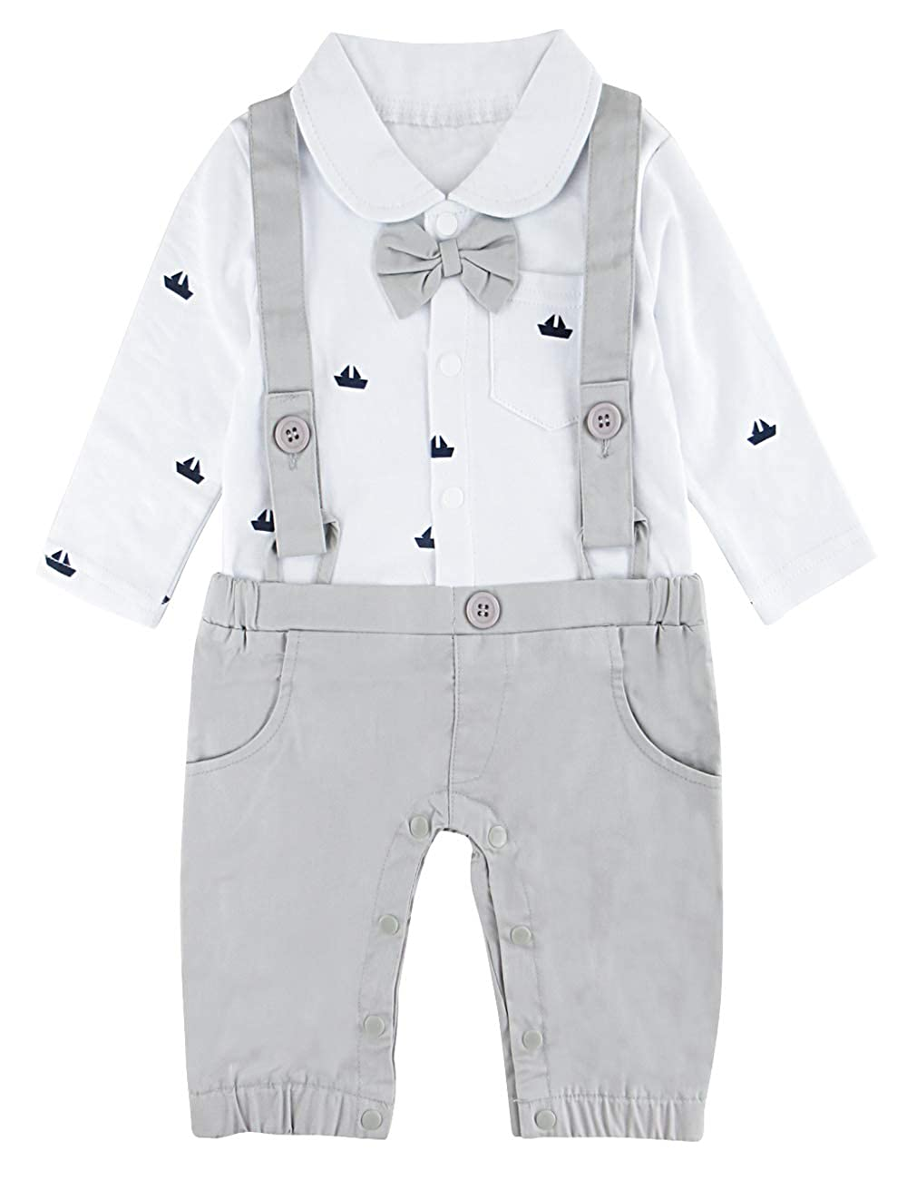 740cba415f1d A J Design Baby Boys  Funny Gentleman Romper Overalls Jumpsuit with ...