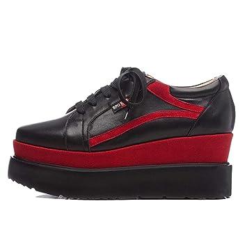 RLYAY Zapatos Casuales De Los Deportes De Las Mujeres Zapatos Casuales De Cordones Gruesos Mocasines Negro Blanco: Amazon.es: Deportes y aire libre