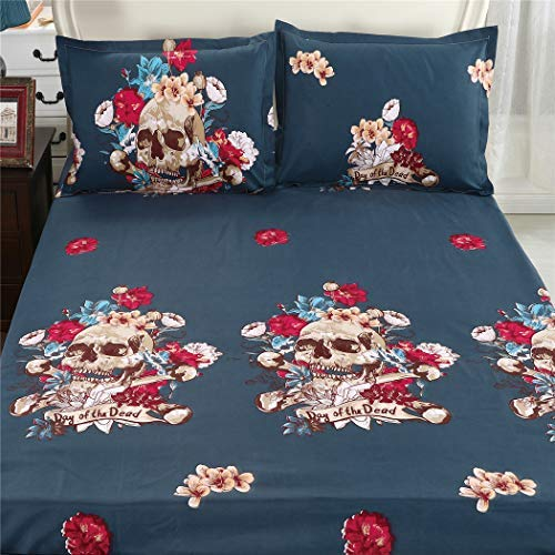 Jessy Home 4PC Sheets Set Day of The Dead Sugar Skull Navy Blue Bedding with Soft Lightweight Microfiber Gothic Decor, Queen-1 Deep Pocket Fitted Sheet /1 Flat Sheet /2 Pillowcases]()