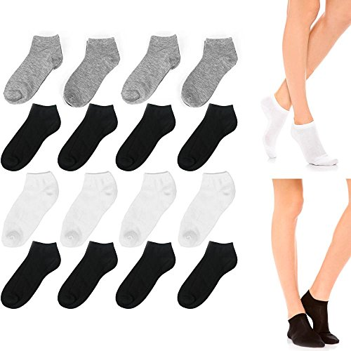 12 Pair Womens Ankle Socks Ped Low Cut Fit Crew Size 9-11 Sport Black White Grey
