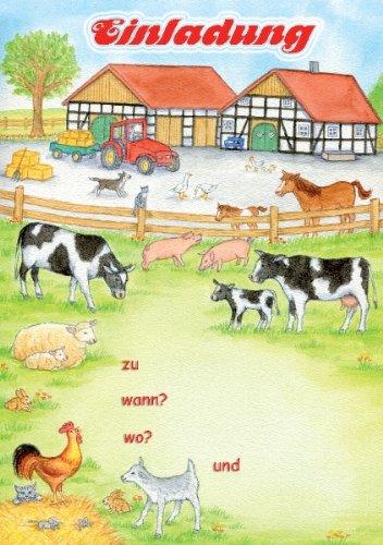 Bauernhof Einladungen Geburtstag Kindergeburtstags Einladungen 12er Set:  Amazon.de: Bürobedarf U0026 Schreibwaren