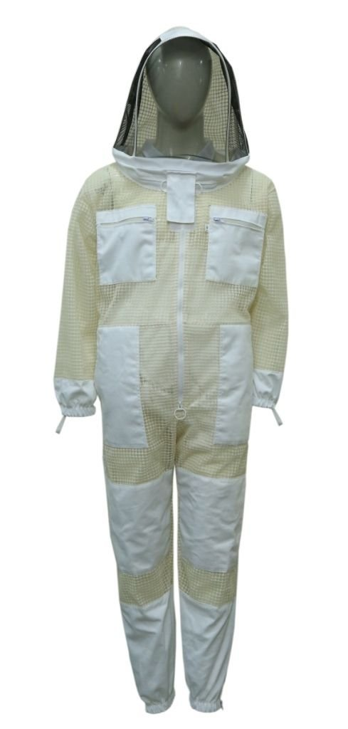 Professional Bee 3 Layer safety Unisex White Fabric Mesh Beekeeping Jacket Bee Jacket Beekeeper Jacket Bee Beekeeper Outfit FancyVeil (X--Large) by Professional Bee