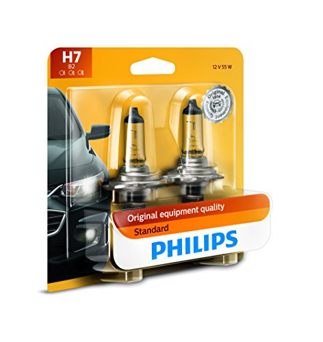 (Philips H7 Standard Halogen Replacement Headlight Bulb, 2 Pack)